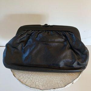 VTG Black Italian Leather Clutch / Lucite Closure